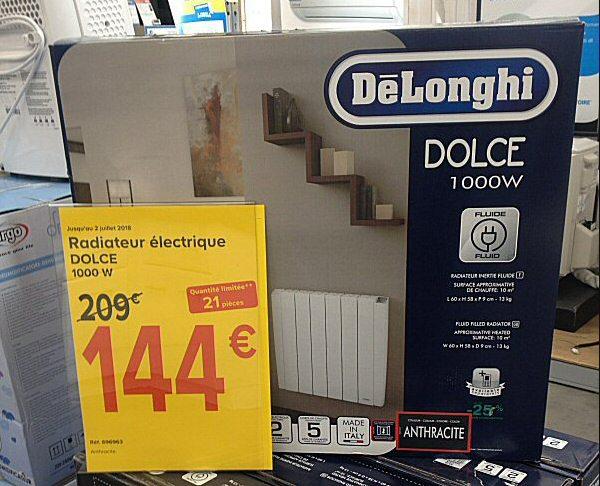 radiateur à inertie fluide Delonghi