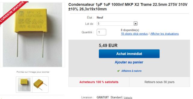 condensateur 1 µF MKP X2