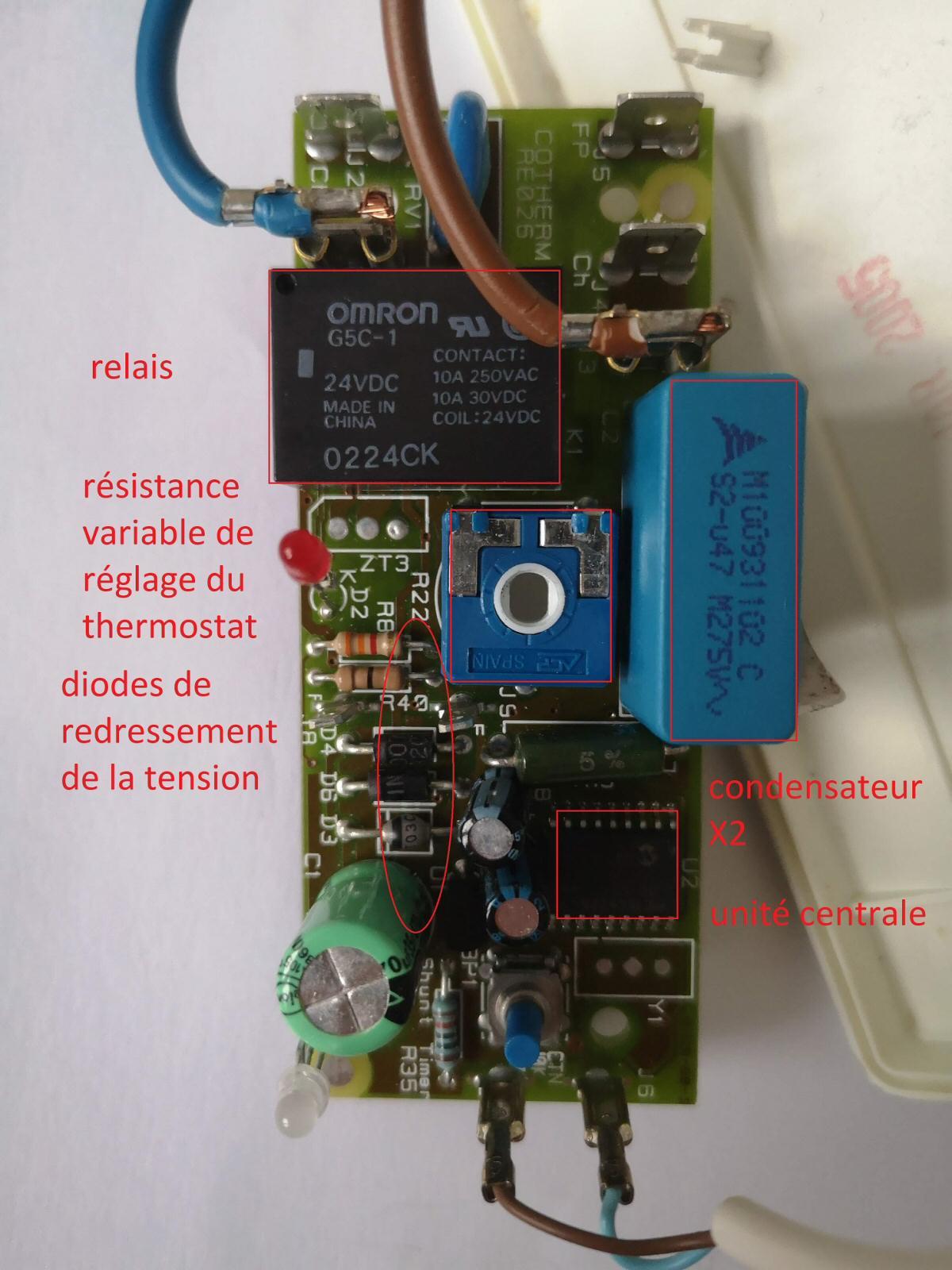 Carte électronique du thermostat