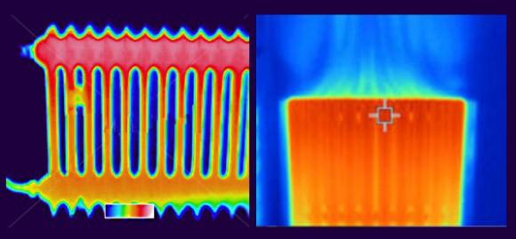 Thermographie de radiateur à inertie fluide fluide