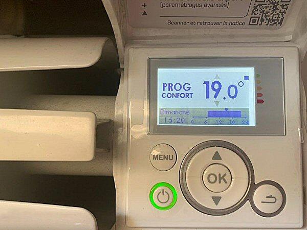 Afficheur du thermostat